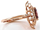 Blush And White Cubic Zirconia 18k Rose Gold Over Sterling Silver Ring 4.69ctw