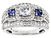 White And Blue Cubic Zirconia Rhodium Over Sterling Silver Ring 3.80ctw