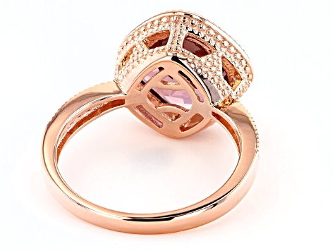 Blush And White Cubic Zirconia 18k Rose Gold Over Sterling Silver Ring 4.51ctw