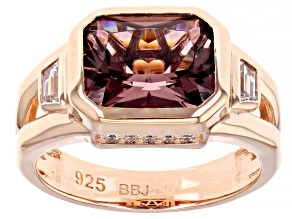 Blush And White Cubic Zirconia 18K Rose Gold Over Sterling Silver Ring 3.59ctw