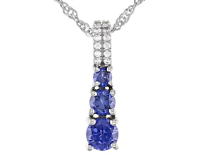 Blue And White Cubic Zirconia Rhodium Over Sterling Silver Pendant With Chain 1.62ctw