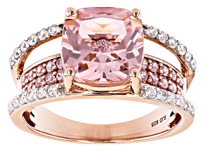 Pink Morganite Simulant And Pink And White Cubic Zirconia 18k Rose Gold Over Sterling Silver Ring