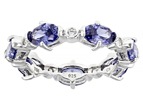 Blue And White Cubic Zirconia Rhodium Over Sterling Silver Eternity Band Ring 5.12ctw
