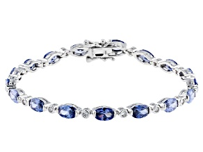 Blue And White Cubic Zirconia Rhodium Over Sterling Silver Tennis Bracelet 13.21ctw