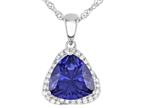 Blue and White Cubic Zirconia Rhodium Over Sterling Pendant With Chain