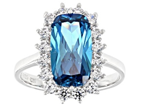 Blue And White Cubic Zirconia Rhodium Over Sterling Silver Ring 6.75ctw