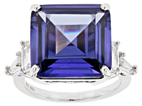 Blue and White Cubic Zirconia Rhodium Over Silver Ring