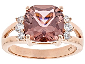 Pink Glass and White Cubic Zirconia 18k Rose Gold Over Sterling Silver Ring