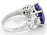 Blue and White Cubic Zirconia Rhodium Over Silver Ring 13.36ctw