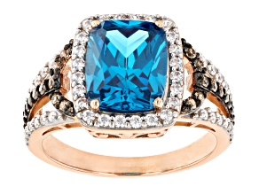 Blue and Champagne Cubic Zirconia 18K Rose Gold Over Silver Ring