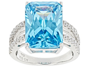 Blue And White Cubic Zirconia Rhodium Over Sterling Silver Ring 10.64ctw