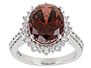 Blush And White Cubic Zirconia Rhodium Over Sterling Silver Ring 9.67ctw
