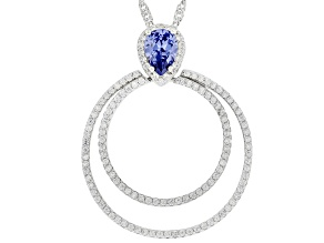 Blue And White Cubic Zirconia Rhodium Over Sterling Silver Pendant With Chain 2.42ctw