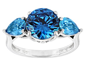 Blue Cubic Zirconia Rhodium Over Sterling Silver Ring 7.30ctw.