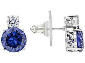 Blue And White Cubic Zirconia Rhodium Over Sterling Silver Earrings 6.23ctw
