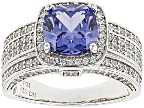 Blue And White Cubic Zirconia Rhodium Over Sterling Silver Ring 5.42ctw