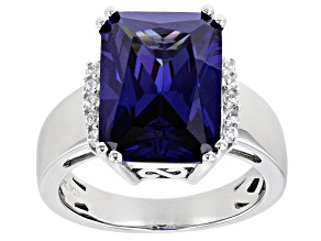 Blue And White Cubic Zirconia Platinum Over Sterling Silver Ring 8.32ctw