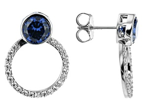Blue And White Cubic Zirconia Platinum Over Sterling Silver Earrings 5.77ctw