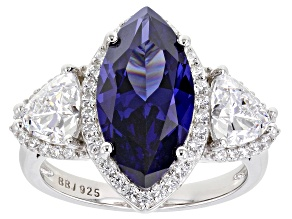 Blue And White Cubic Zirconia Rhodium Over Sterling Silver Ring 10.30ctw