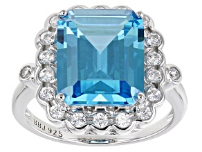 Blue And White Cubic Zirconia Rhodium Over Sterling Silver Ring 11.17ctw