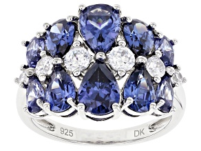 Blue And White Cubic Zirconia Rhodium Over Sterling Silver Ring 7.24ctw