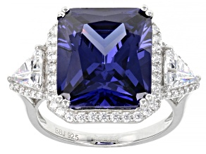 Blue And White Cubic Zirconia Rhodium Over Sterling Silver Ring 18.17ctw