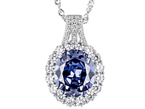 Blue And White Cubic Zirconia Platinum Over Sterling Silver Necklace 8.30ctw