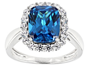 Blue And White Cubic Zirconia Rhodium Over Sterling Silver Ring 4.26ctw
