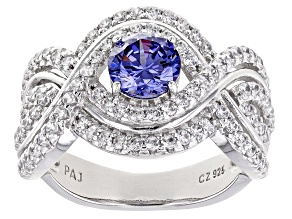 Blue And White Cubic Zirconia Rhodium Over Sterling Silver Ring 2.69ctw