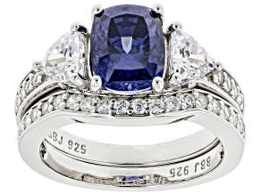 Blue And White Cubic Zirconia Platinum Over Sterling Silver 2 Ring Set 4.26ctw