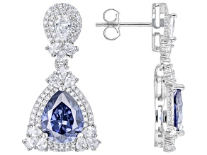 Blue And White Cubic Zirconia Rhodium Over Sterling Silver Earrings 12.25ctw