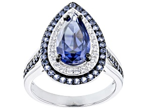 Blue And White Cubic Zirconia Rhodium Over Sterling Silver Ring 4.61ctw
