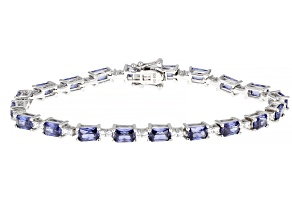 Blue And White Cubic Zirconia Rhodium Over Sterling Silver Tennis Bracelet 16.97ctw
