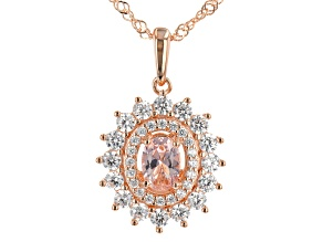 Morganite Simulant And White Cubic Zirconia 18K Rose Gold Over Silver Pendant With Chain 3.09ctw