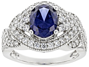 Blue And White Cubic Zirconia Rhodium Over Sterling Silver Ring 4.05ctw