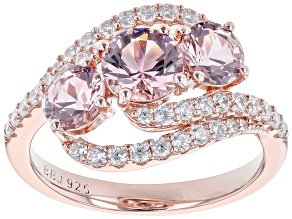 Morganite Simulant White Cubic Zirconia 18k Rose Gold Over Sterling Silver Ring