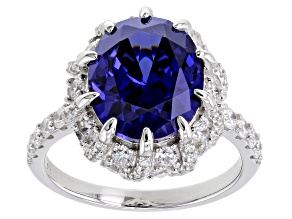 Blue And White Cubic Zirconia Platinum Over Sterling Silver Ring 9.72ctw