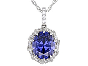 Blue And White Cubic Zirconia Platinum Over Sterling Silver Pendant With Chain