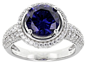 Blue And White Cubic Zirconia Rhodium Over Sterling Silver Ring 6.00ctw