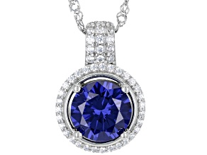 Blue And White Cubic Zirconia Rhodium Over Sterling Silver Pendant With Chain 5.10ctw