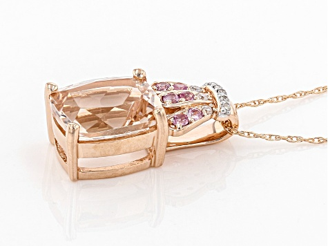 Pink Cor De Rosa™ Morganite 10k Rose Gold Pendant With Chain 2.56ctw