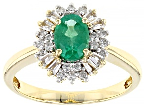 Green Emerald 10k Yellow Gold Ring 1.06ctw