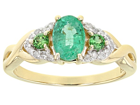 Green Ethiopian Emerald 10k Yellow Gold Ring .85ctw