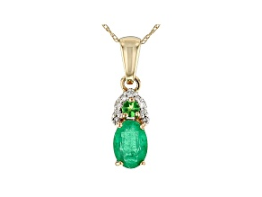 Green Ethiopian Emerald 10k Yellow Gold Pendant With Chain .71ctw