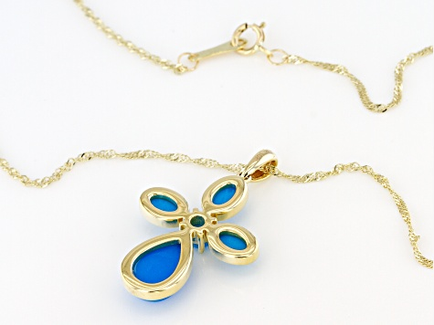 Blue Sleeping Beauty Turquoise 10k Yellow Gold Cross Pendant With Chain