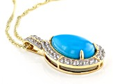 Sleeping Beauty Turquoise 10k Yellow Gold Pendant With Chain .61ctw