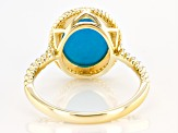 Blue Sleeping Beauty Turquoise 10k Yellow Gold Ring 11x9mm Oval