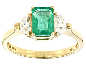 Green Ethiopian Emerald 10k Yellow Gold Ring 1.57ctw