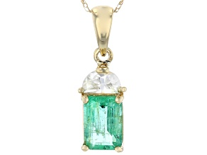 Green Ethiopian Emerald 10k Yellow Gold Pendant With Chain 1.23ctw