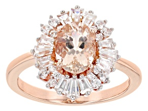 Peach Cor De Rosa Morganite 10k Rose Gold Ring 2.13ctw